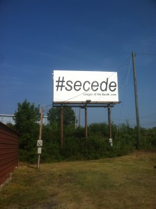 LS #secede billboard in Tuscaloosa July 2014