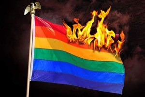 Rainbow flag burning June 2015