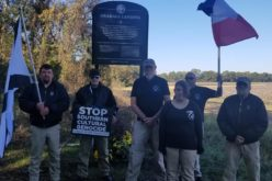 League visits Emmett Till memorial . . .